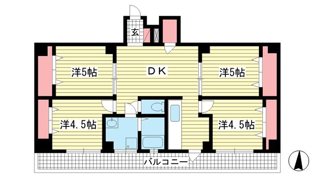 物件番号: 1025882132 エルパラッツォ新神戸  神戸市中央区熊内橋通6丁目 4DK マンション 間取り図