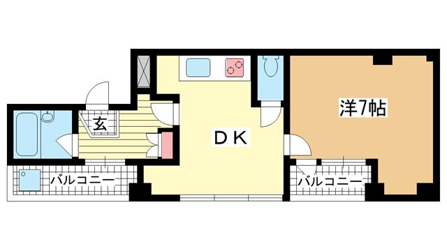 物件番号: 1025882134 グランディア ルネ板宿  神戸市須磨区戎町3丁目 1DK マンション 間取り図