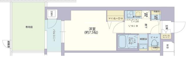 物件番号: 1025882154 レジデンス神戸グルーブHarborWest  神戸市兵庫区兵庫町2丁目 1K マンション 間取り図