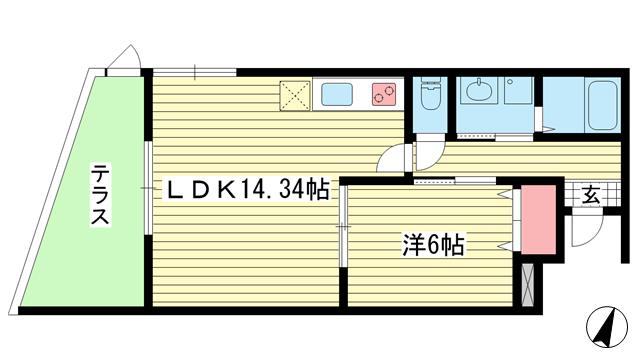 物件番号: 1025882155 プレジール兵庫駅前  神戸市兵庫区駅前通4丁目 1LDK マンション 間取り図