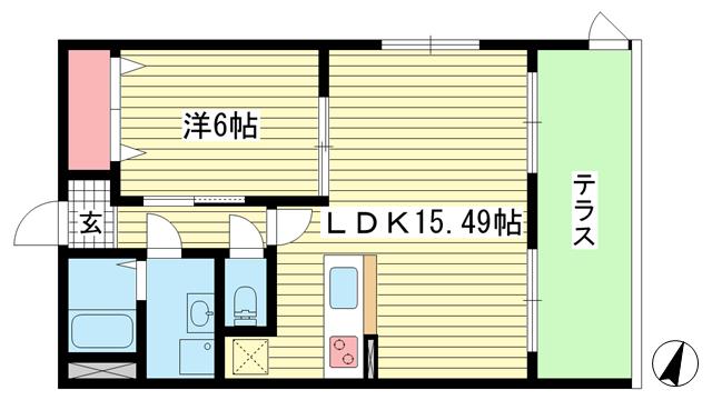 物件番号: 1025882157 プレジール兵庫駅前  神戸市兵庫区駅前通4丁目 1LDK マンション 間取り図