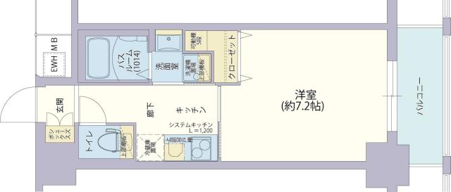 物件番号: 1025882162 レジデンス神戸グルーブHarborWest  神戸市兵庫区兵庫町2丁目 1K マンション 間取り図
