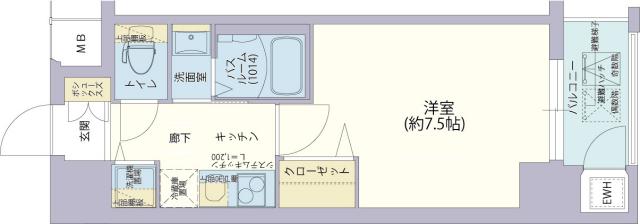 物件番号: 1025882163 レジデンス神戸グルーブHarborWest  神戸市兵庫区兵庫町2丁目 1K マンション 間取り図