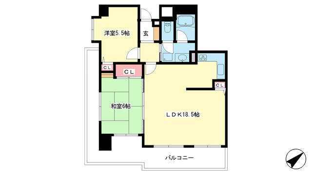 物件番号: 1025882164 ワコーレグラン新神戸  神戸市中央区中尾町 2LDK マンション 間取り図