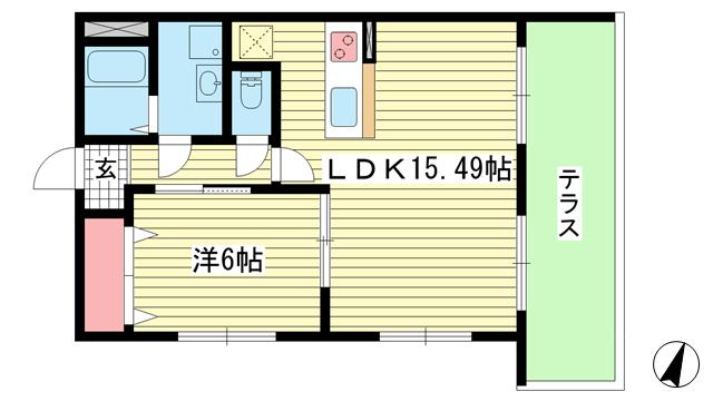 物件番号: 1025882165 プレジール兵庫駅前  神戸市兵庫区駅前通4丁目 1LDK マンション 間取り図