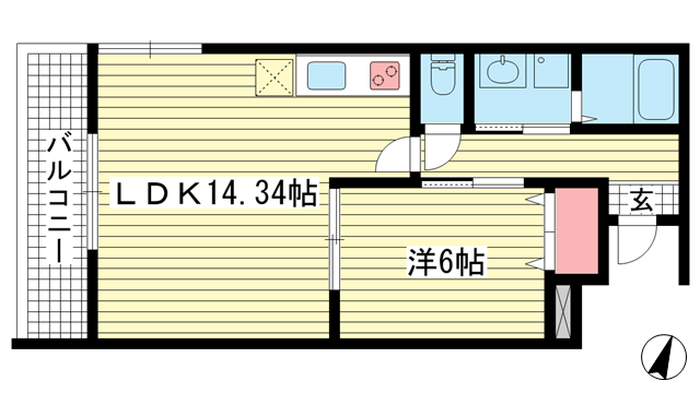 物件番号: 1025882166 プレジール兵庫駅前  神戸市兵庫区駅前通4丁目 1LDK マンション 間取り図