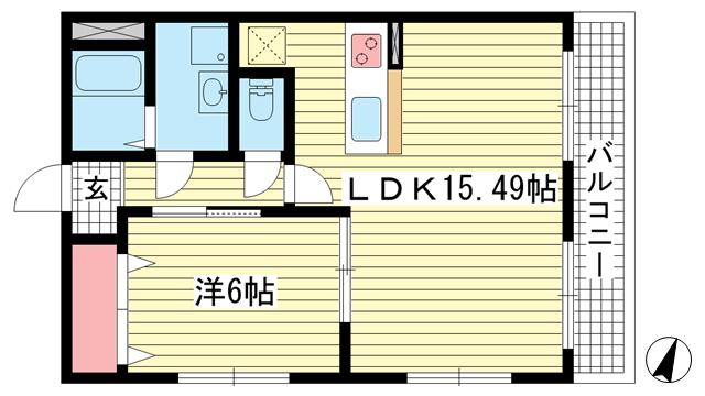 物件番号: 1025882167 プレジール兵庫駅前  神戸市兵庫区駅前通4丁目 1LDK マンション 間取り図