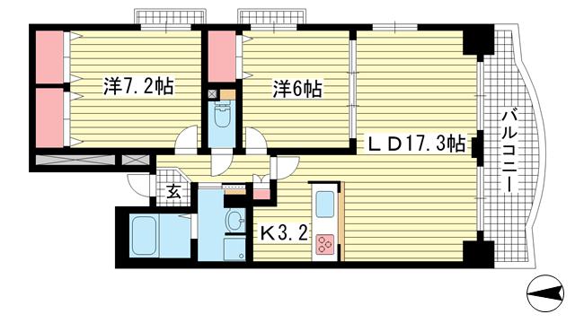 物件番号: 1025882175 東町・江戸町ビル  神戸市中央区江戸町 2LDK マンション 間取り図