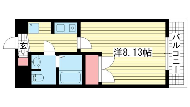 物件番号: 1025882179 プレジール阪神西宮  西宮市与古道町 1K マンション 間取り図