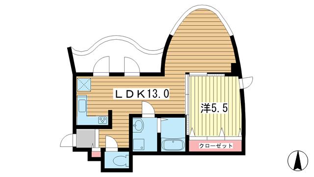 物件番号: 1025882188 アクト・ワン第3ビル  神戸市中央区熊内町4丁目 1LDK マンション 間取り図