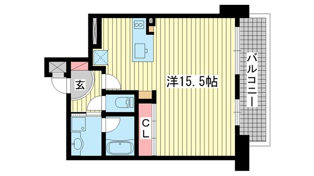 物件番号: 1025882192 インペリアル新神戸  神戸市中央区加納町2丁目 1K マンション 間取り図