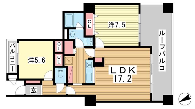 物件番号: 1025882195 ブルックス神戸  神戸市中央区中尾町2丁目 3LDK マンション 間取り図