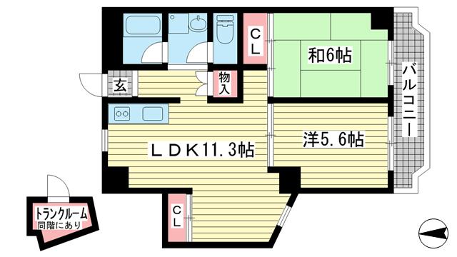 物件番号: 1025882198 タウンハウス熊内  神戸市中央区熊内町4丁目 2LDK マンション 間取り図