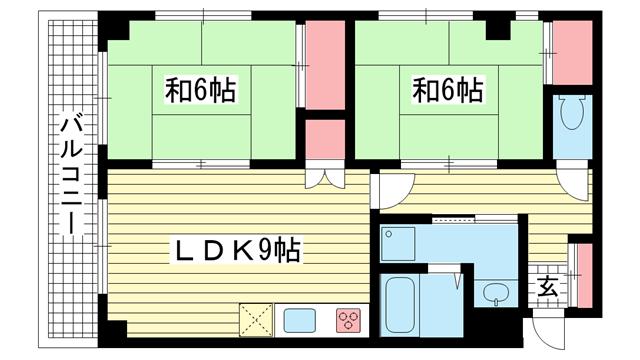 物件番号: 1025882202 パールハイツ三輪  神戸市兵庫区大開通7丁目 2LDK マンション 間取り図