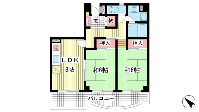 物件番号: 1025882203 パールハイツ三輪  神戸市兵庫区大開通7丁目 2LDK マンション 間取り図