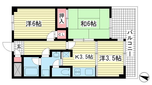 物件番号: 1025882204 兵庫駅前アーバンライフ  神戸市兵庫区駅前通4丁目 3K マンション 間取り図