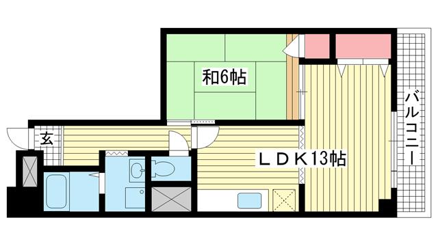 物件番号: 1025882205 ハイムYEBISU  神戸市兵庫区塚本通4丁目 1LDK マンション 間取り図