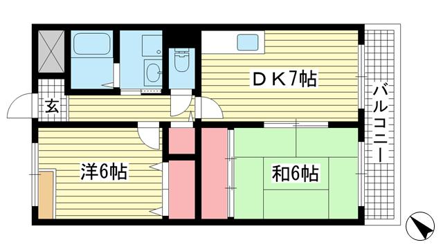 物件番号: 1025882206 パレス入江  神戸市兵庫区駅前通3丁目 2DK マンション 間取り図
