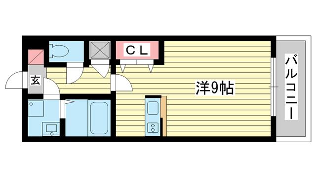 物件番号: 1025882212 サンシャインレジデンス  神戸市中央区下山手通8丁目 1K マンション 間取り図