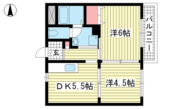 物件番号: 1025882216 メゾン三宮  神戸市中央区二宮町4丁目 2DK マンション 間取り図