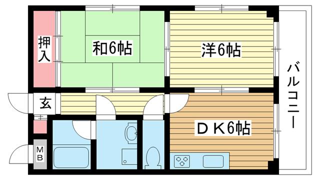 物件番号: 1025882217 ビューポート神田  神戸市兵庫区神田町 2DK マンション 間取り図