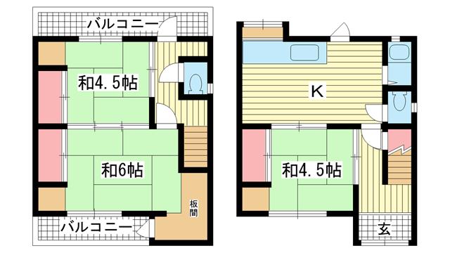 物件番号: 1025882218 若菜通6丁目戸建  神戸市中央区若菜通6丁目 3K 貸家 間取り図
