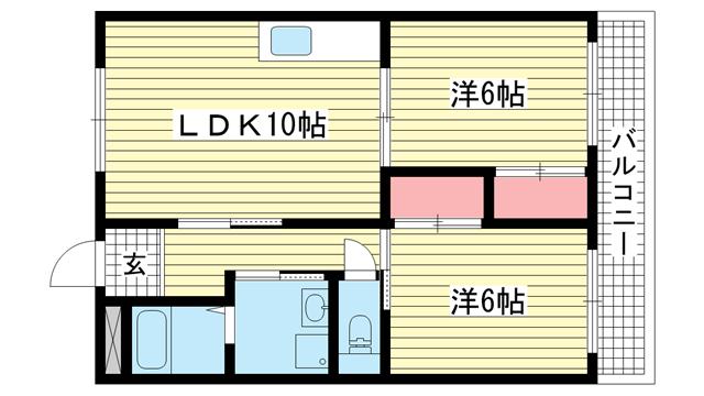 物件番号: 1025882219 リッチウォーク大倉山  神戸市中央区楠町6丁目 2LDK マンション 間取り図
