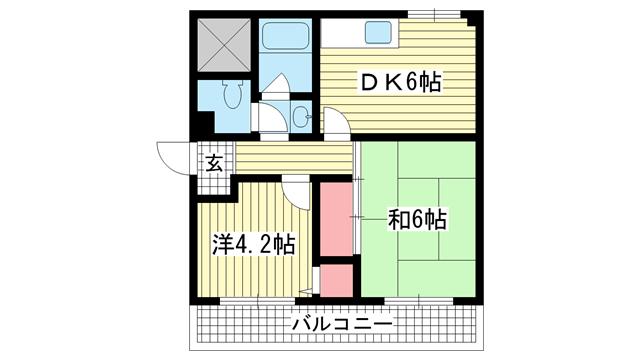 物件番号: 1025882230 永光ビルディング熊内橋  神戸市中央区熊内橋通3丁目 2DK マンション 間取り図