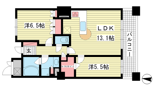 物件番号: 1025882231 ライオンズタワー神戸旧居留地  神戸市中央区伊藤町 2LDK マンション 間取り図