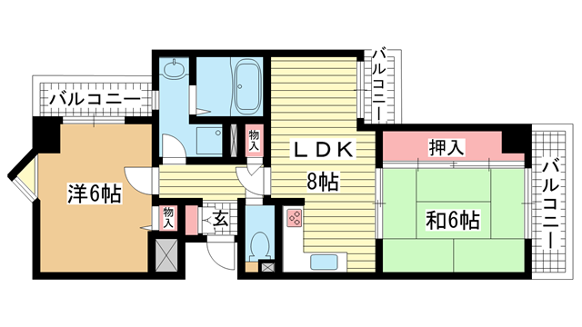 物件番号: 1025882243 ライオンズマンション神戸西元町第2  神戸市中央区北長狭通7丁目 2LDK マンション 間取り図