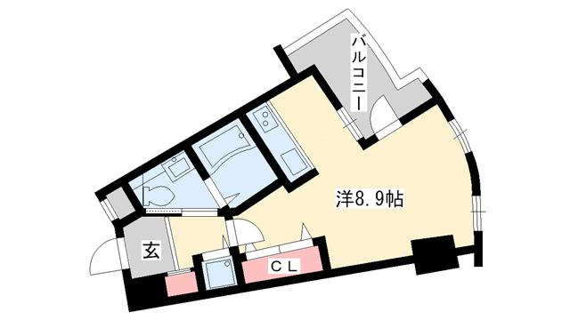 物件番号: 1025882246 クロス磯上公園  神戸市中央区磯辺通1丁目 1R マンション 間取り図