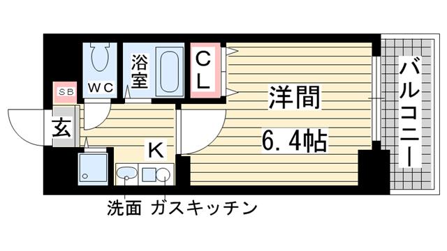 物件番号: 1025882251 プレサンス神戸三宮  神戸市中央区雲井通4丁目 1K マンション 間取り図