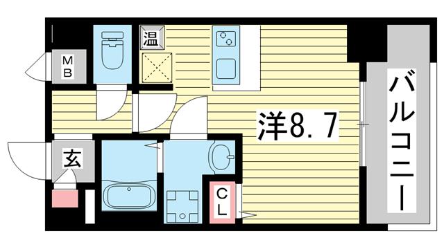 物件番号: 1025882257 ファーストフィオーレ三宮イーストⅡ  神戸市中央区宮本通7丁目 1K マンション 間取り図