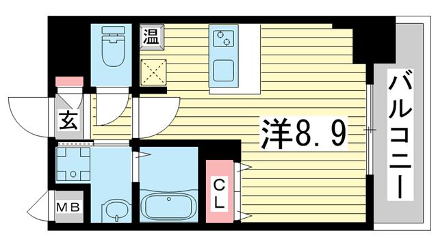 物件番号: 1025882260 ファーストフィオーレ三宮イーストⅡ  神戸市中央区宮本通7丁目 1K マンション 間取り図
