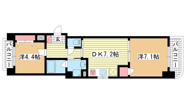 物件番号: 1025882263 六甲サンピナコテカ  神戸市灘区宮山町2丁目 2DK マンション 間取り図