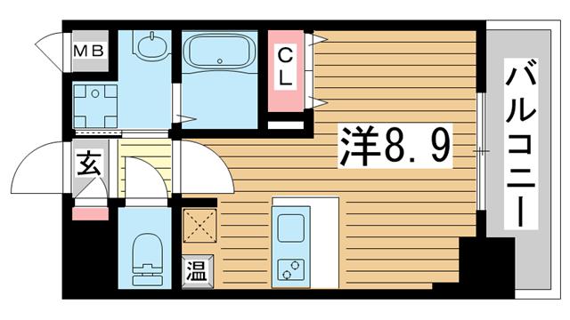 物件番号: 1025882266 ファーストフィオーレ三宮イーストⅡ  神戸市中央区宮本通7丁目 1K マンション 間取り図