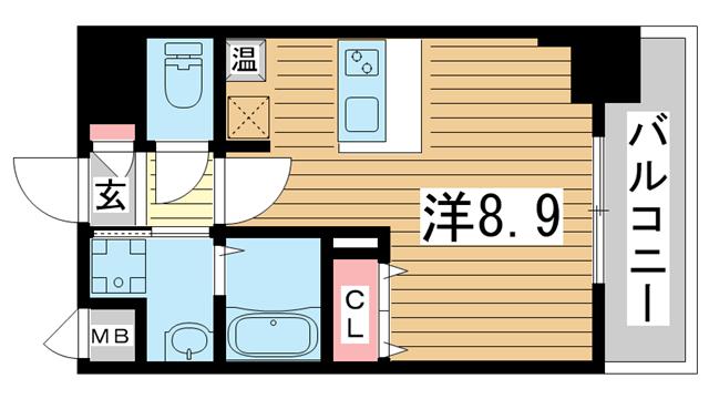物件番号: 1025882267 ファーストフィオーレ三宮イーストⅡ  神戸市中央区宮本通7丁目 1K マンション 間取り図
