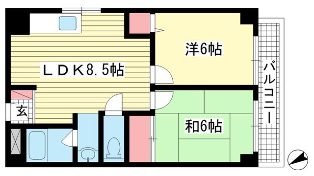 物件番号: 1025882271 ハッピーコート魚崎  神戸市東灘区魚崎中町1丁目 2DK マンション 間取り図