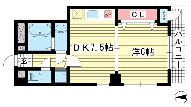 物件番号: 1025882272 ドール魚崎  神戸市東灘区魚崎南町7丁目 1DK マンション 間取り図