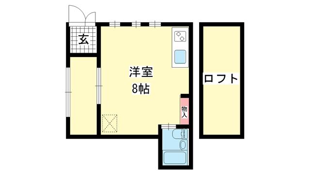 物件番号: 1025882275 ヨーロピアンコンフォート  神戸市中央区東雲通2丁目 1R ハイツ 間取り図