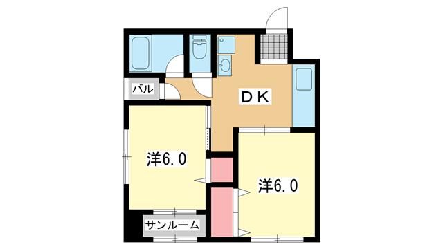 物件番号: 1025882276 神戸コーポラス  神戸市中央区中町通3丁目 2DK マンション 間取り図