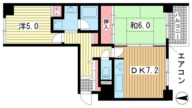 物件番号: 1025882277 三宮パークハイム  神戸市中央区二宮町3丁目 2DK マンション 間取り図