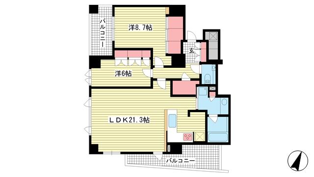 物件番号: 1025882282 シエリア神戸北野坂  神戸市中央区北野町3丁目 2LDK マンション 間取り図