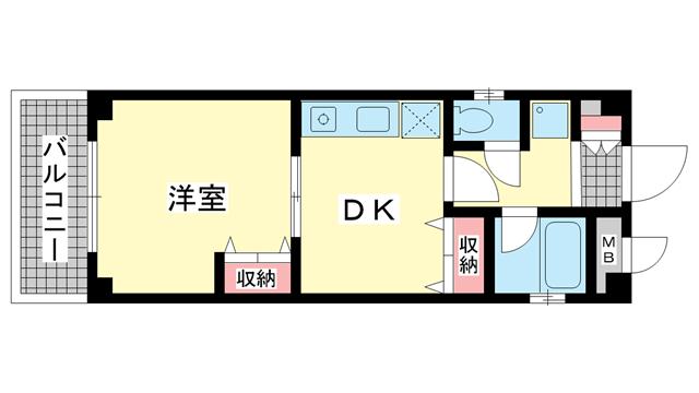 物件番号: 1025882284 N・T・ハイツ  神戸市中央区中山手通2丁目 1DK マンション 間取り図