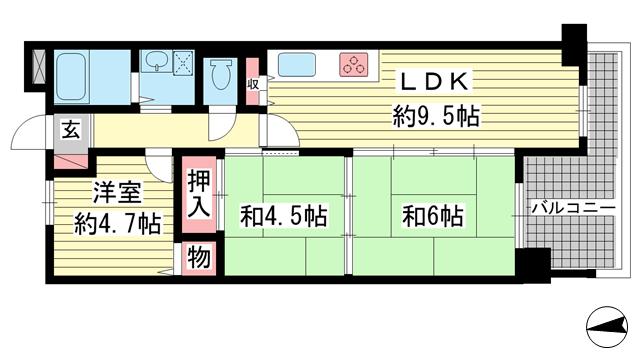 物件番号: 1025882286 レーベン三宮  神戸市中央区雲井通2丁目 3DK マンション 間取り図