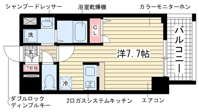 物件番号: 1025882289 ライジングコート三宮マリーナシティ  神戸市中央区東雲通3丁目 1K マンション 間取り図
