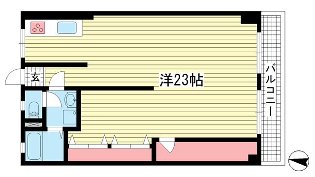 物件番号: 1025882290 北野マンション1号棟  神戸市中央区北野町2丁目 1R マンション 間取り図