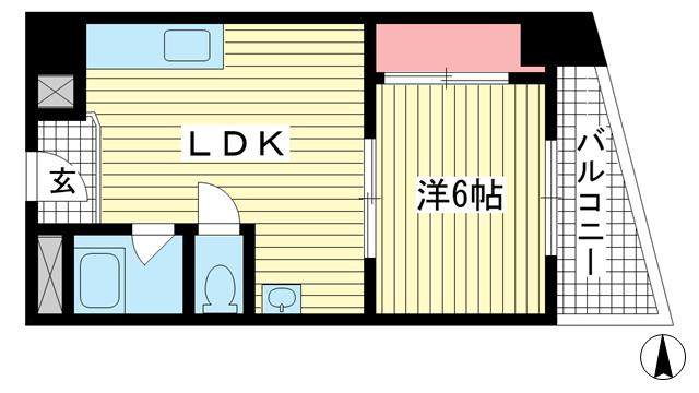 物件番号: 1025882294 鯉川マンション  神戸市中央区下山手通4丁目 1LDK マンション 間取り図