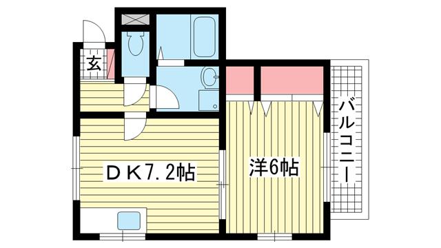 物件番号: 1025882303 グランソーレ  神戸市中央区大日通5丁目 1DK マンション 間取り図