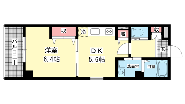 物件番号: 1025882307 メゾン三宮若菜通  神戸市中央区若菜通5丁目 1K マンション 間取り図